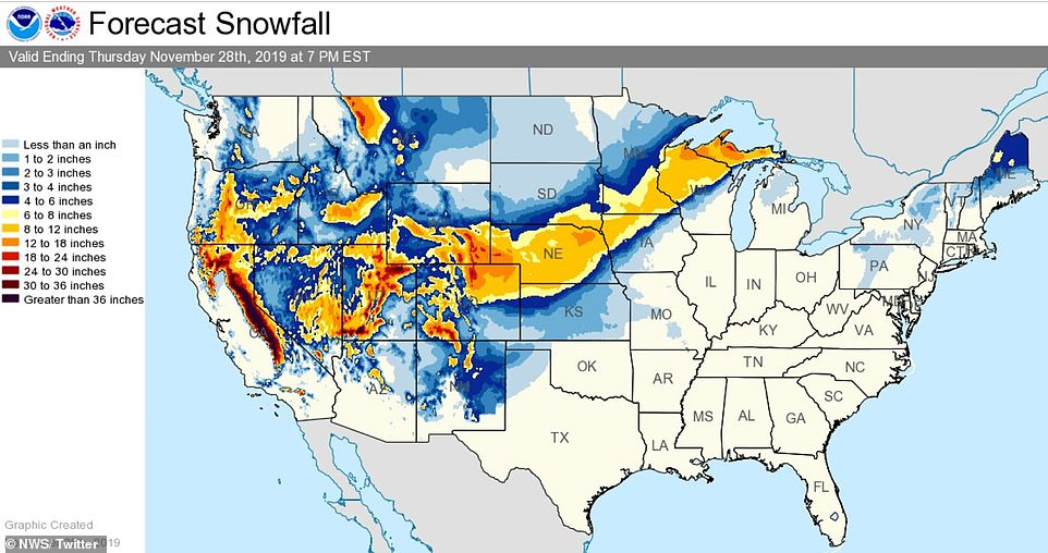 The map above shows the expected snowfall nationwide from Tuesday morning through Thursday evening