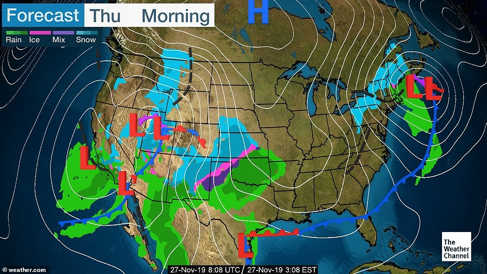 By Thursday morning large swathes of the country will be hit by more snow, rain and icy conditions
