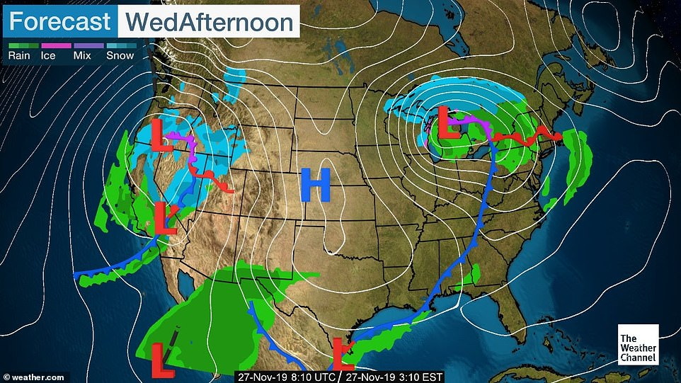 A storm bringing rain is expected to batter most of the East, the Great Lakes will be windy and gusty, the Upper Midwest will be snowy, and precipitation is expected in the West and Southwest on Wednesday