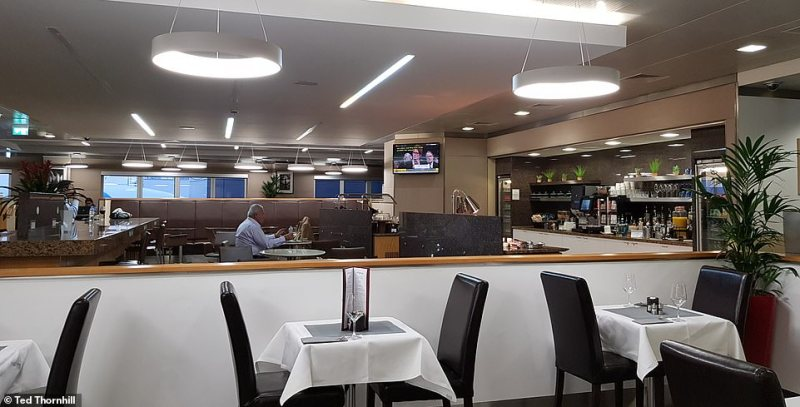Ted's first taste of American Airlines' top-tier offerings is theInternational First Class Lounge, pictured, at Heathrow Airport's Terminal 3, pictured