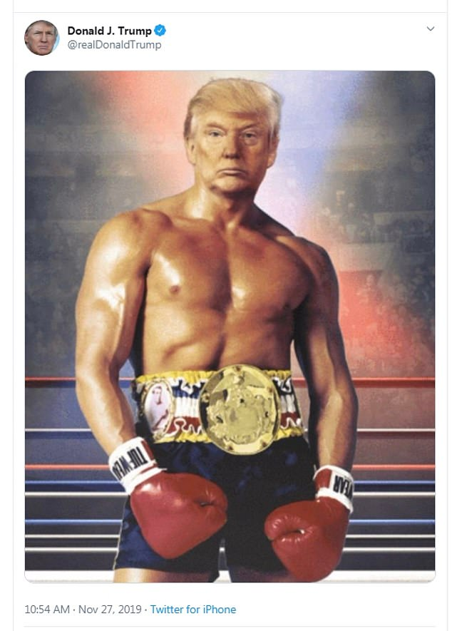 Donald Trump tweeted an image of himself as Rocky Balboa, a reference to recent reports about his health
