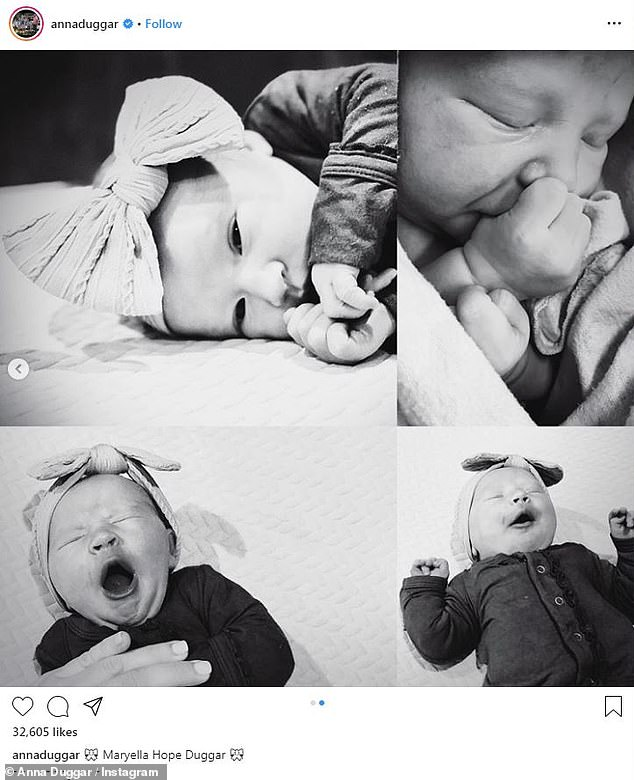 Adorable: A second photo included multiple black and white photos of Maryella yawning and sucking on her thumb. One image showed the little baby with her eyes open