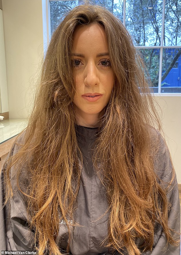 London-based stylist Michael Van Clarke, who has worked in the industry for 25 years, told Femail how the key is not to overdry the hair and to let the ends dry on naturally to avoid damage. A hair model is seen before her blow dry by Michael
