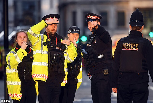 Home Secretary Priti Patel added she was 'very concerned', saying: 'Very concerned by ongoing incident at London Bridge.