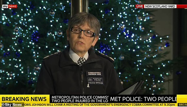 Metropolitan Police Chief Cressida Dick (pictured) later confirmed that two stabbing victims had died in a statement given this evening