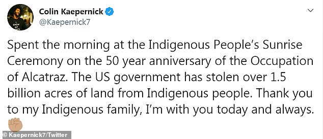 He criticized the US government 'for stealing 1.5 billion acres of land from Indigenous people'