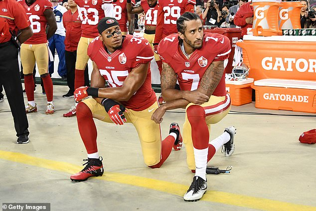 Kaepernick, who led the 49ers to the Super Bowl seven years ago, has not played since 2016 when he sparked a wave of protests and divisive debate by kneeling during the national anthem to protest police brutality and racial injustice. He is pictured in 2016