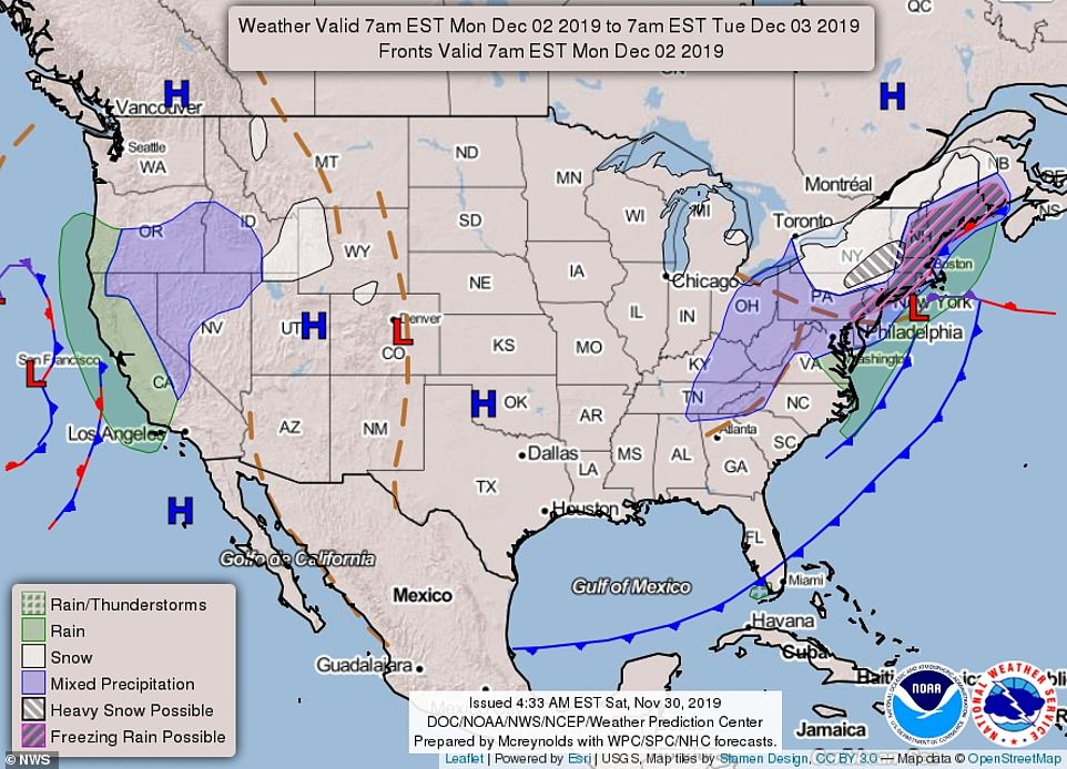 The map above shows the forecast nationwide from Monday morning 7am EST through Tuesday morning 7am EST
