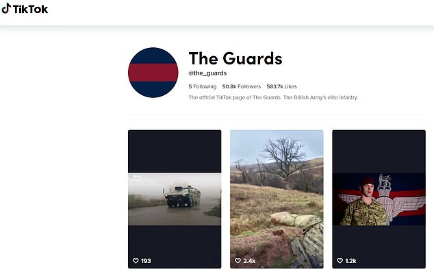 Both the Army and the Guards Division now have accounts, which have accumulated more than 50,000 followers in total