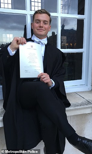 Pictured is Jack Merritt with his Cambridge degree