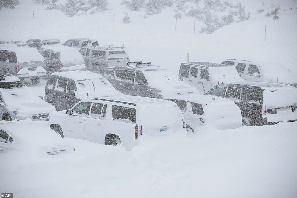 Powdery white snow took over the Mammoth Mountain Ski Area in Mammoth Mountain, California