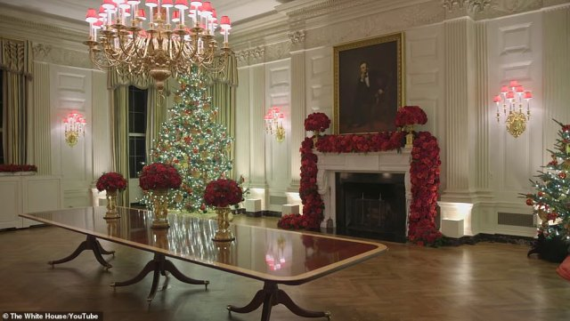 Melania and her staff put in months of work - planning for this year's began early in the summer - on the decorations, pictured, that will fill the public reception rooms at the White House for the holidays