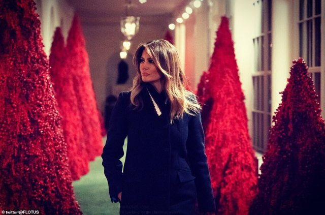 Twitter users last year poked fun at her display, pictured, comparing it to The Handmaid's Tale and The Shining