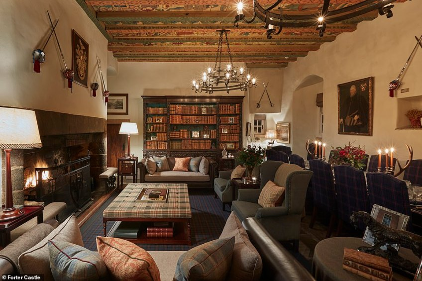 Whisky can be enjoyed in Forter Castleon the large Ralph Lauren sofas and chairs.The castle can be rented from £611 per night