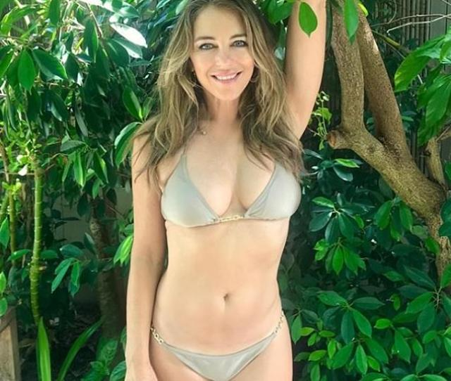 Elizabeth Hurley  Shows Off Her Incredible Physique In A Tiny