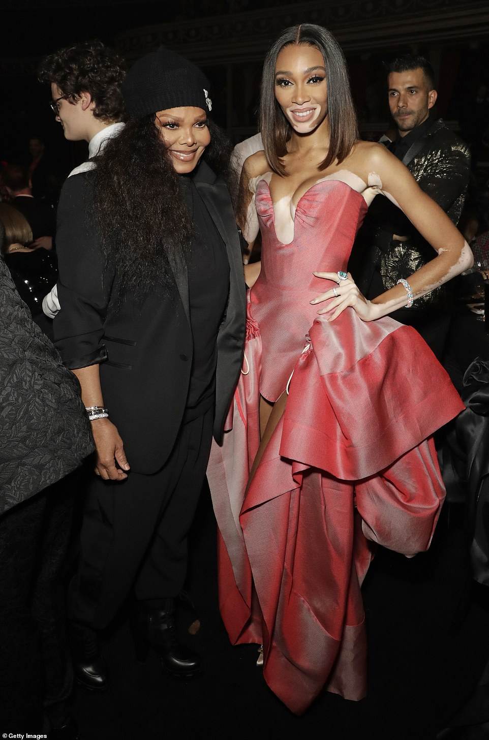 Catching up: Janet Jackson made a surprise appearance at the event alongside Winnie Harlow, who donned David Morris jewellery and a gown by Andreas Kronthaler for Vivienne Westwood for the event