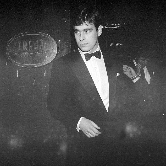 Prince Andrew pictured outside Mayfair nightclub Tramp in the 1980s. The prince has denied any claims that he preyed on Virginia Roberts in the Mayfair nightclub before taking advantage of her at the Belgravia home of Ghislaine Maxwell in March 2001