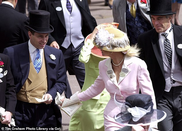 Newly-unearthed photographs show Prince Andrew, left, dressed to the nines and grinning away as he entertains Epstein, right, and Maxwell, centre in a green jacket and pink hat, at Ascot racecourse in 2000
