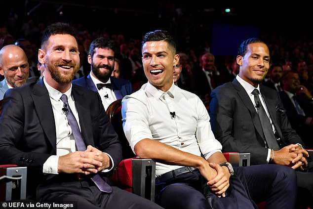 Messi, Ronaldo and van Dijk pictured at the Champions League draw in August this year