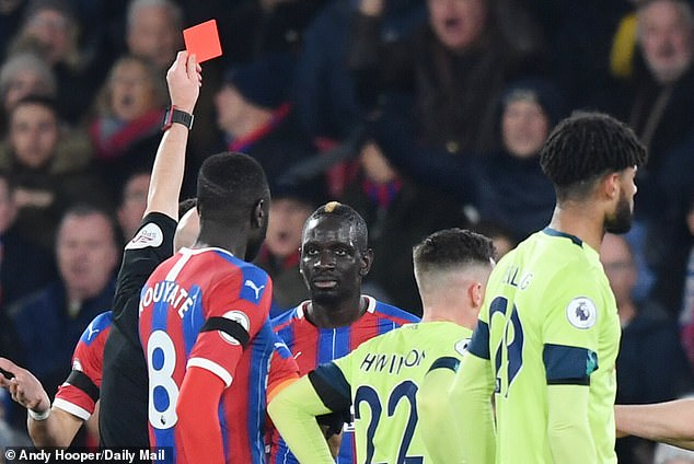 Defender Mamadou Sakho was sent off in the 19th minute for a wild lunge atAdam Smith