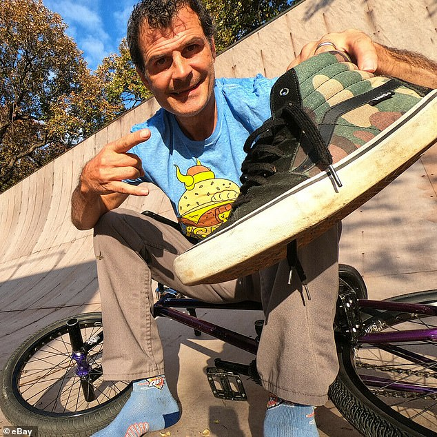 Used: BMX star Mat Hoffman donated a pair of size 12 Vans that he has actually worn