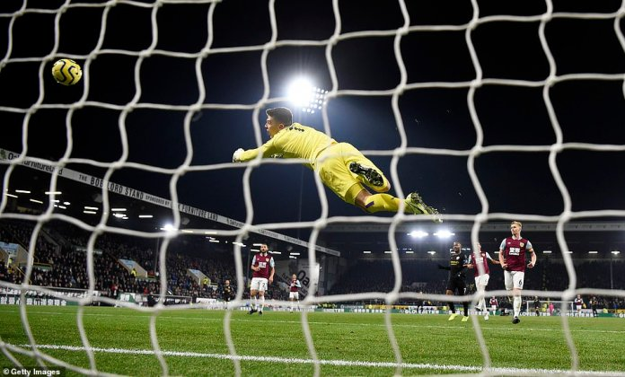 The Burnley goalkeeper could only watch the ball travel past him as he dived in vain while trying to save Jesus's strike