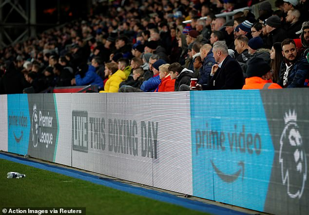 Selhurst Park beamed graphics promoting Amazon's next package offering on boxing day