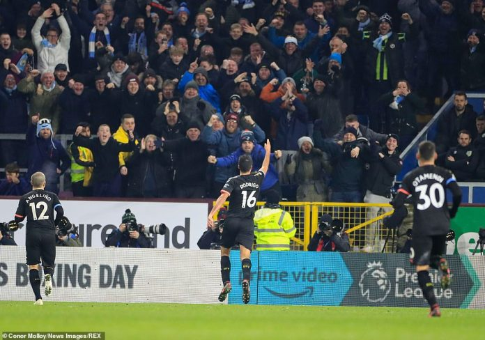 A delighted Rodri dashed over to the away end where he took in the acclaim from the City supporters who visited Turf Moor