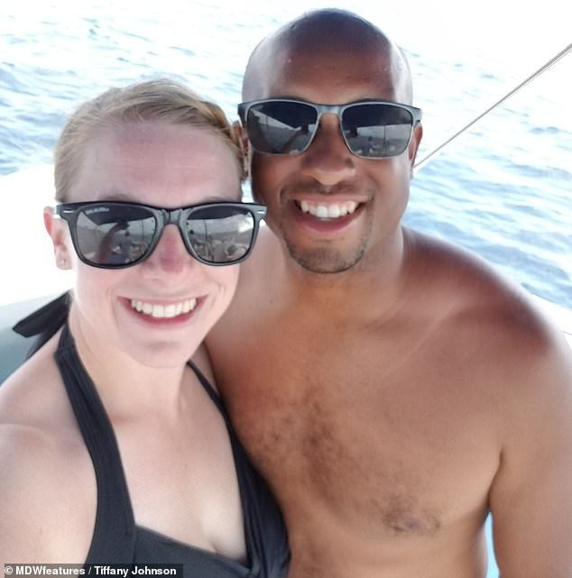 She had been snorkeling off Paradise Island while on a cruise ship holiday with husband James, 32 (pictured just before the attack)