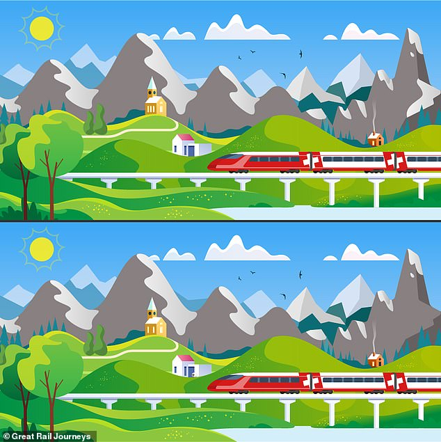 The latest brainteaser, created byGreat Rail Journeys, challenges the nationto spot the eight differences in he two puzzles