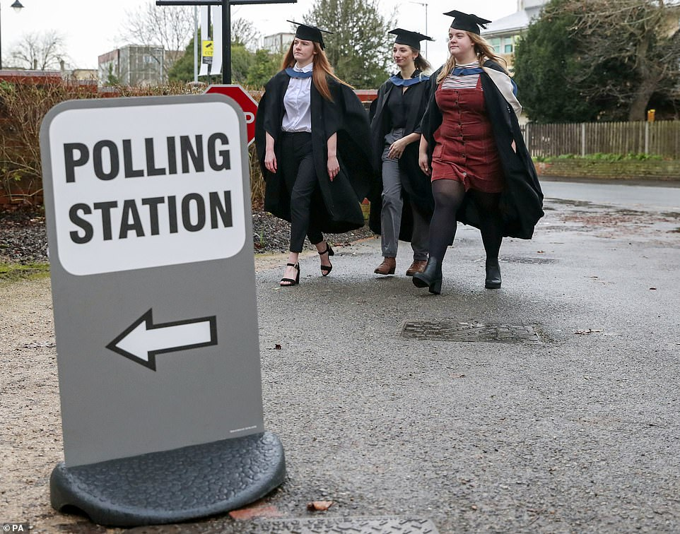 Students from the University of Reading arrive to vote in the General Election 2019 ahead of their December graduation ceremonies later