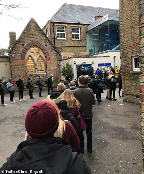 queues at polling station in Larcom Street, Bermondsey and Old Southwark
