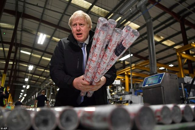 The Opinium survey is likely to have buoyed Mr Johnson's spirits, pictured in Hengoed in south Wales this afternoon, as it suggests he is still on course to win a majority