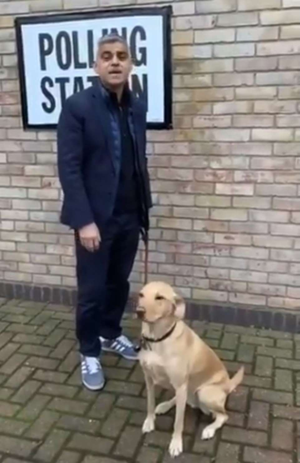 London Mayor Sadiq Khan was also out and about today and took his dog Luna to the polls, urging people to vote