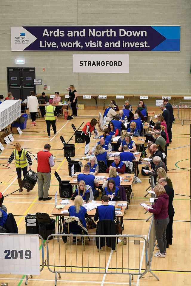 Election officials were frantically counting the votes in Strangford as the drama developed tonight