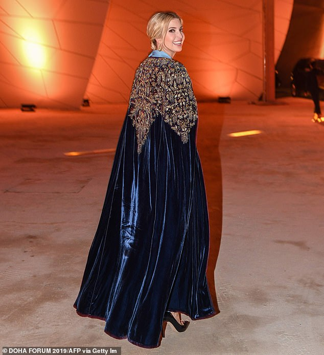 The Senior Advisor to the President of the United States looked in high spirits as she donned the blue velvet and heavily embellished kaftan