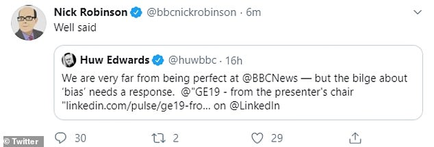 The BBC's Nick Robinson publicly backed his long time colleague online