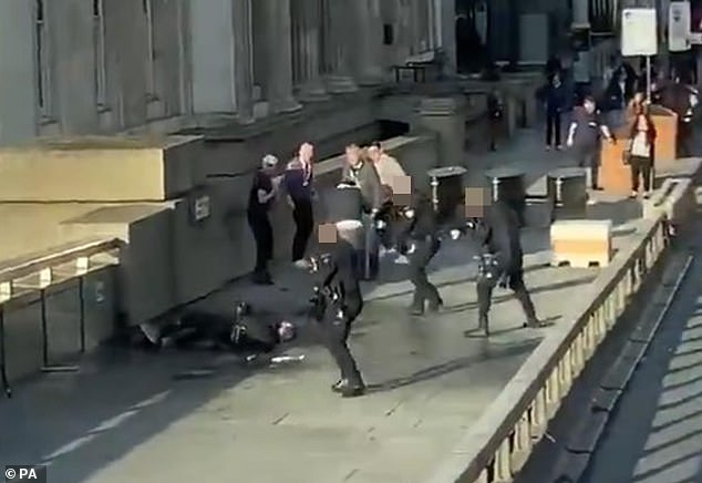 The arrests come just a months after an attack on London Bridge (Usman Khan being shot dead above) but the force said they are not linked to the attack