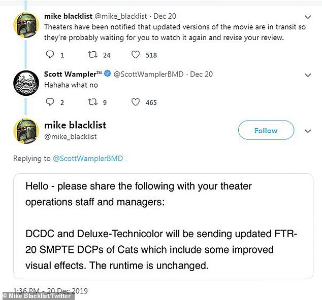 'Improved visual effects': The note that was reportedly sent to movie theater operations staff and managers