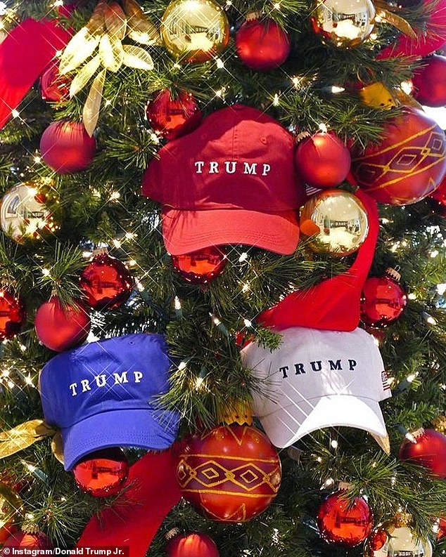 A third image also showed red, white and blue hats placed in the center of the tree as elaborate decorations