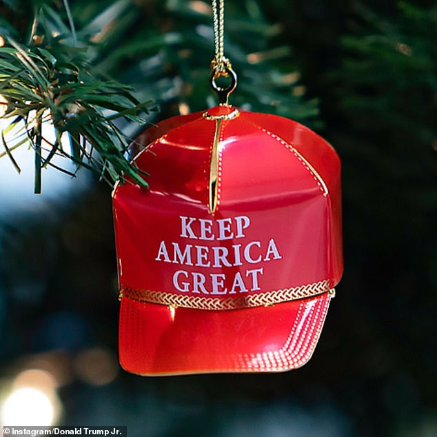 Trump Jr shared multiple photos of his Christmas tree that has been decorated with 'Make America Great Again' hat ornaments
