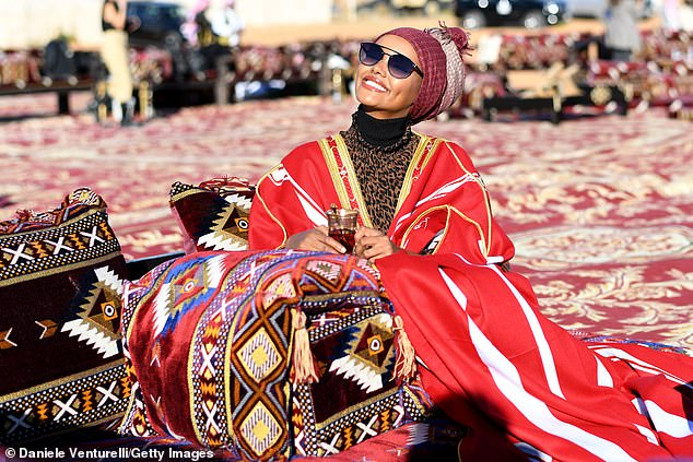 ModelHalima Aden was pictured attending what appeared to be an organized event during the festival