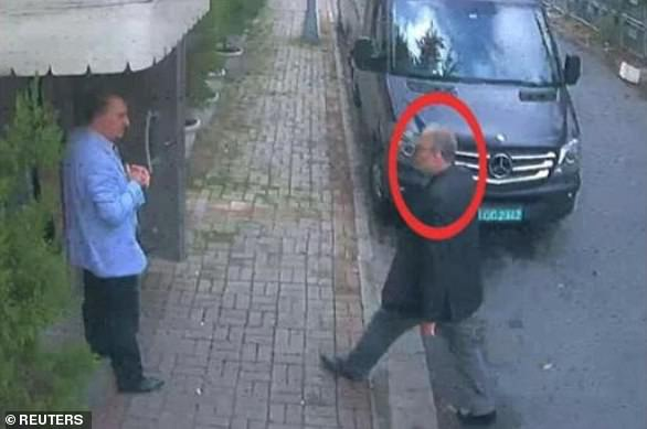 Last moments: Khashoggiwas last seen on October 2 last year entering the consulate in Istanbul where he was accosted and killed by Saudi agents