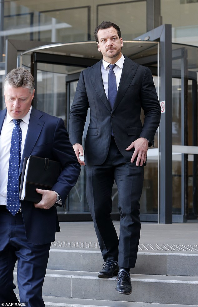 Former Newcastle Knights NRL player Jarrod Mullen leaves Newcastle Local Court on Wednesday, December 4
