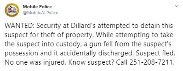 Police say the incident took place at Dillard's department store in Bel Air Mall