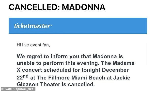 Unexpected: Fans were shocked to learn via Ticketmaster that Sunday night's performance was canceled