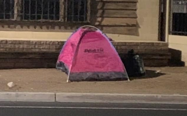 The mother added that she was 'taken back' when she saw some tents on Bonanza Road in Las Vegas
