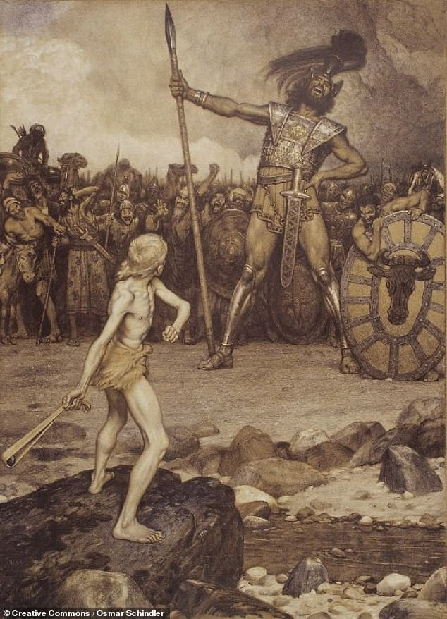 A swollen jugular would be anatomically realistic, given that the sculpture depicts the biblical hero in a state of excitement, about to battle the Philistine giant, Goliath — as depicted in this lithograph by the German painter Osmar Schindler in 1888