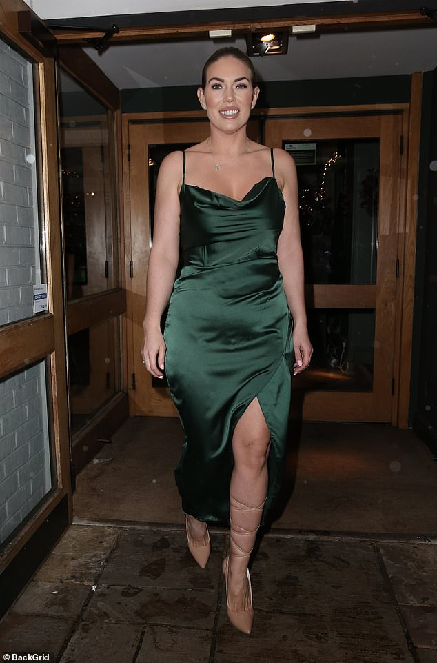 Boxing Day beauty: Frankie Essex, 31, showcased her one stone weight loss in a silky green dress and strappy heels as she headed to the King William pub in Chigwell on Boxing Day