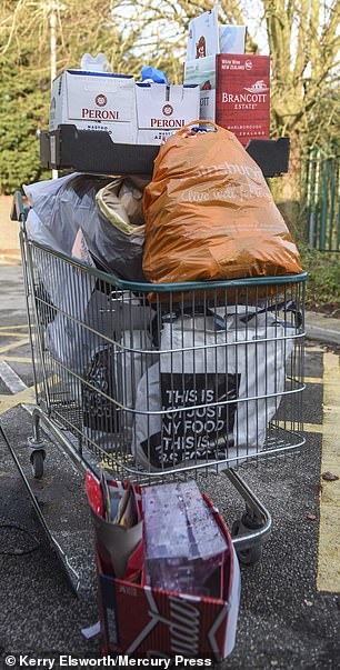 Trolleys were left at recycling points in Cheshire laden with cardboard beer boxes